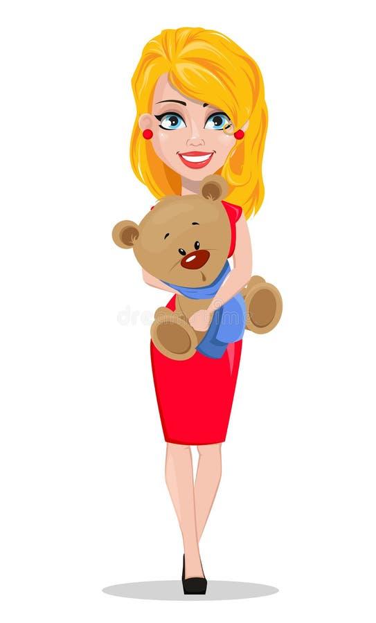 Download Mulher Bonita No Vestido Vermelho Que Guarda O Brinquedo Do Urso De Peluche Ilustração do Vetor - Ilustração de amor, cheerful: 107528627