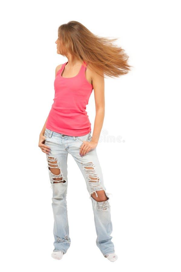 Mulher bonita nova com cabelo de vibração fotos de stock royalty free