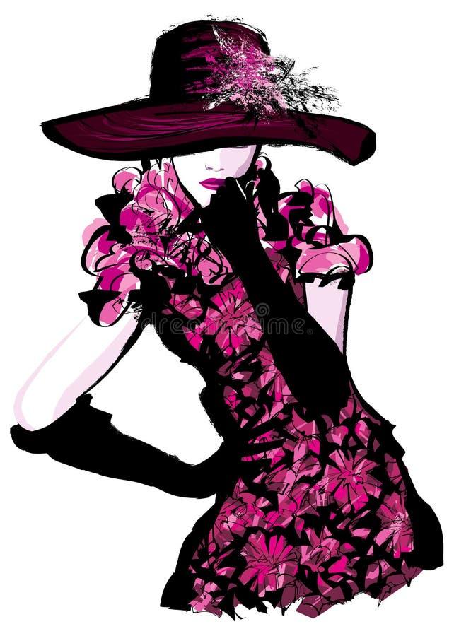 Mulher bonita nova com chapéu ilustração stock