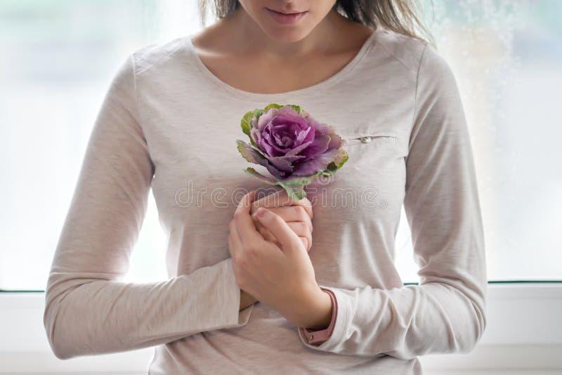 Mulher bonita nova com couve floral roxa da flor perto da janela Conceito da beleza, cosméticos ervais naturais fotografia de stock royalty free