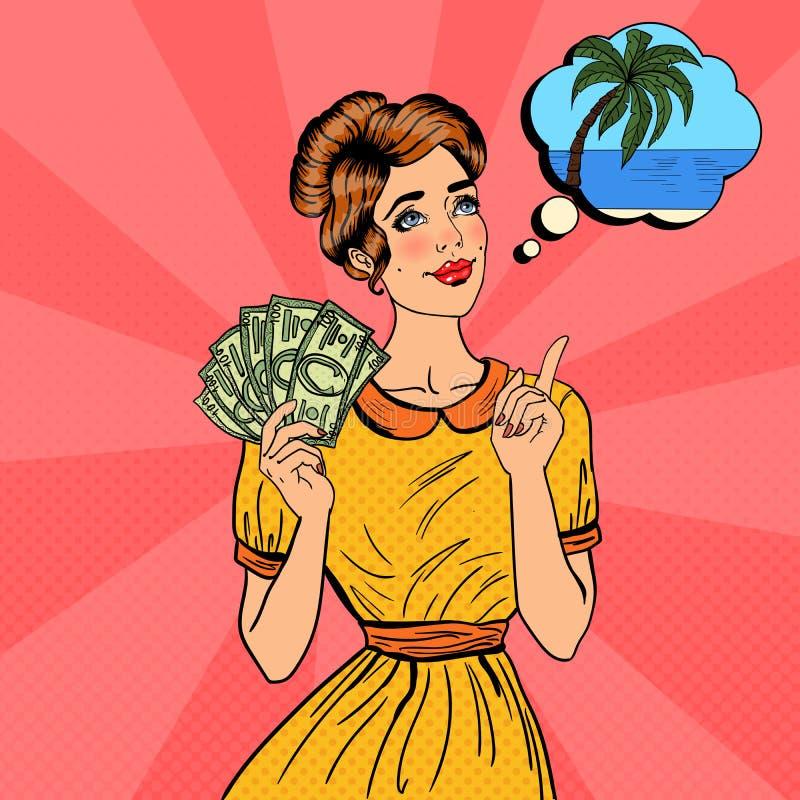 Mulher bonita nova com dinheiro que sonha sobre como gastar Pop art ilustração royalty free