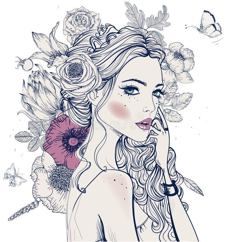 Mulher bonita nova com flores ilustração stock