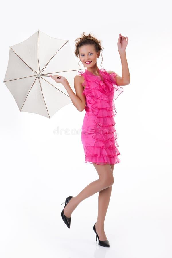 Mulher bonita nova com guarda-chuva fotografia de stock royalty free