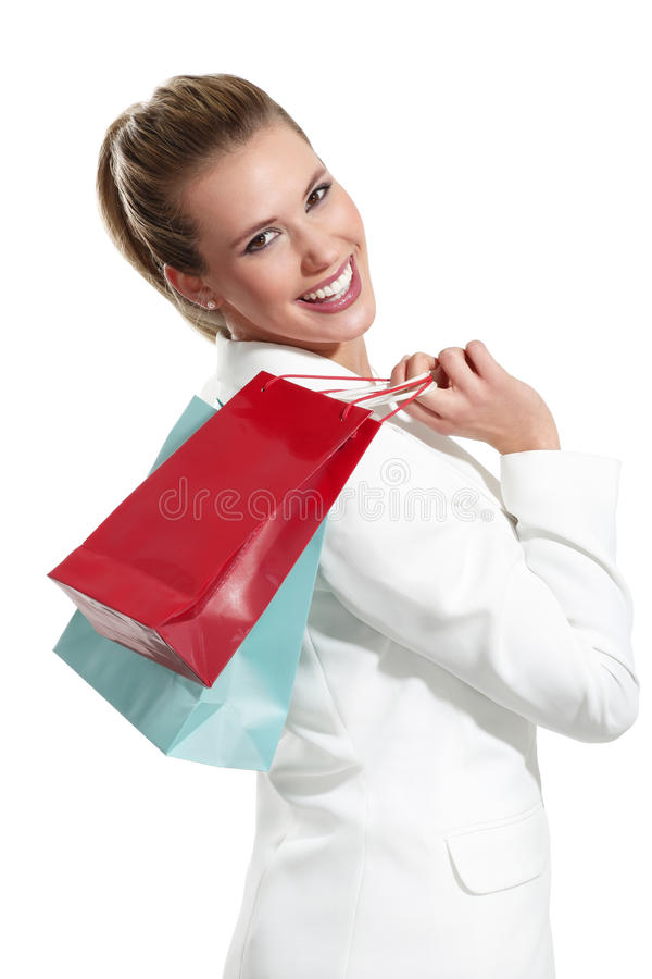 Download Mulher Bonita Nova Com Saco De Compras Foto de Stock - Imagem de isolado, alegre: 29842084