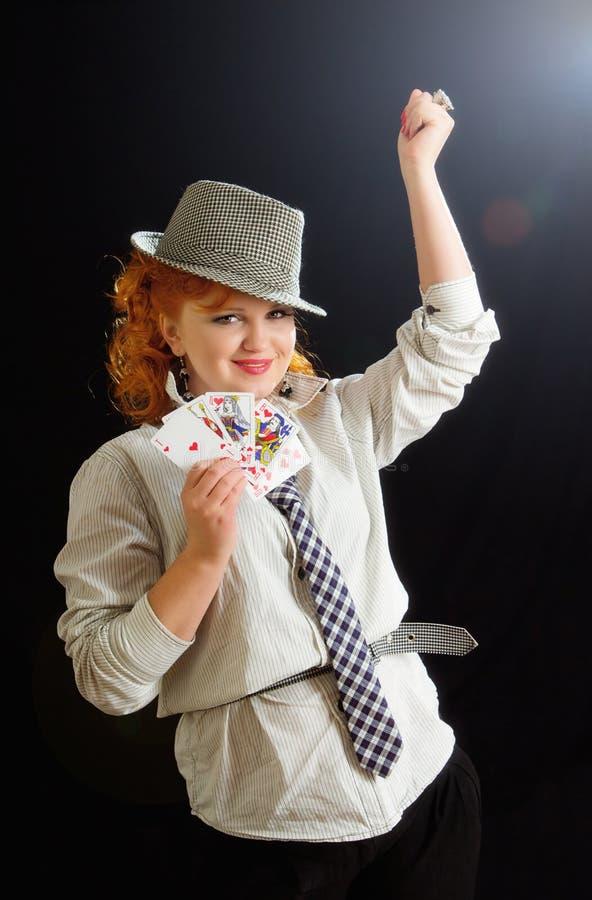 Rapariga bonita com cartões de jogo imagem de stock