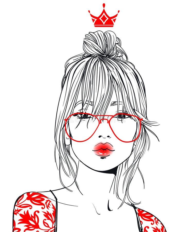 Mulher bonita nova com vidros ilustração stock