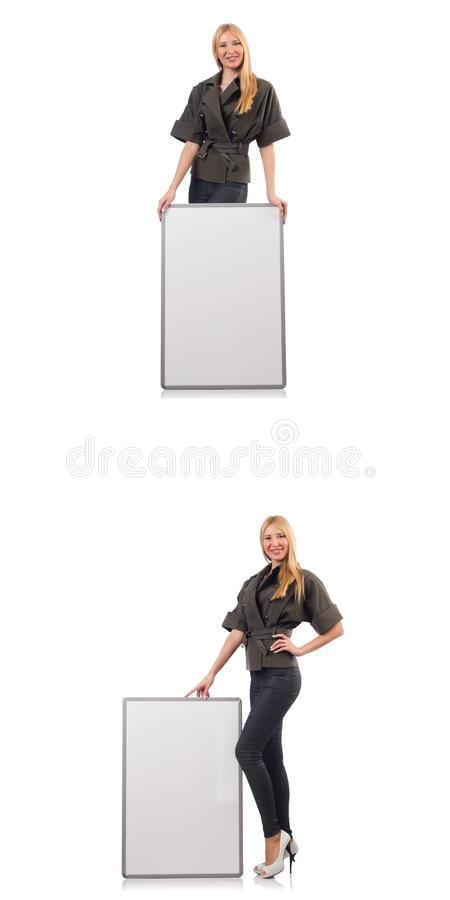 Mulher bonita nova com whiteboard isolada no branco fotografia de stock royalty free
