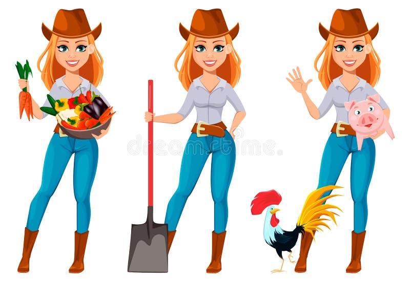 Mulher bonita nova do fazendeiro no chapéu de vaqueiro ilustração royalty free