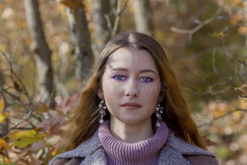 Mulher bonita nova do retrato na perspectiva da floresta do outono em um close-up do dia ensolarado fotos de stock