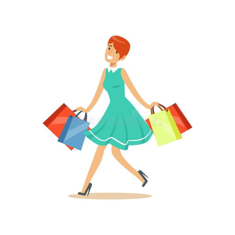 Mulher bonita nova do ruivo em um vestido elegante que anda com ilustração colorida do vetor do caráter dos sacos de compras ilustração do vetor