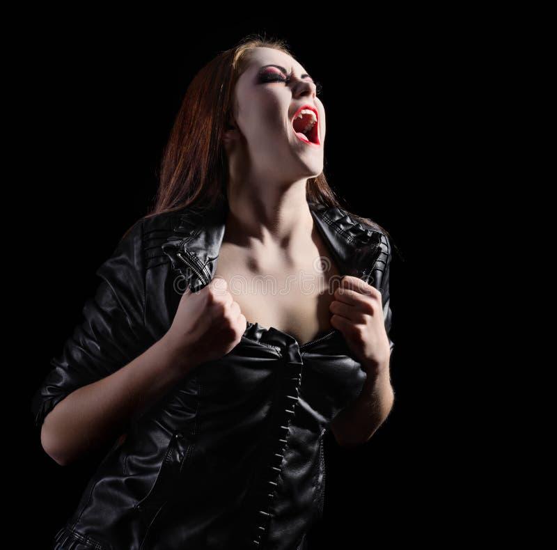 Mulher bonita nova do vampiro fotografia de stock royalty free