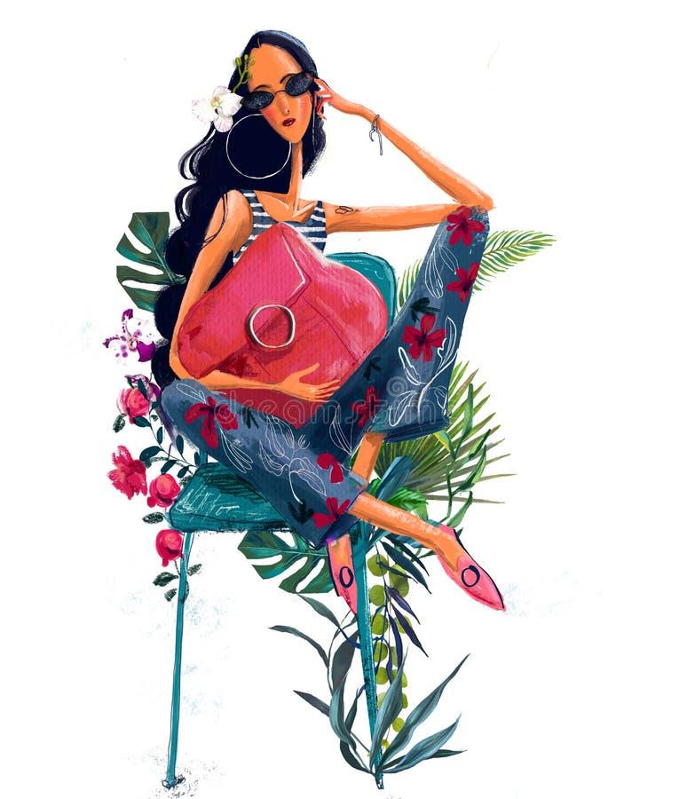 Mulher bonita nova do ver?o com flores tropicais ilustração royalty free