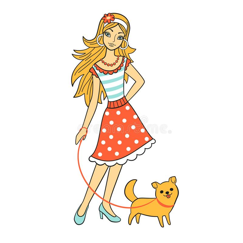 Mulher bonita nova dos desenhos animados com o cão, isolado no fundo branco, vetor Mulher da forma na caminhada com animal de est ilustração stock