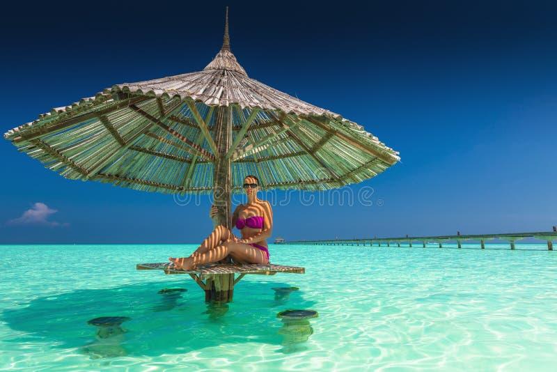 Mulher bonita nova em biquinis roxos sob o guarda-chuva de praia dentro fotografia de stock