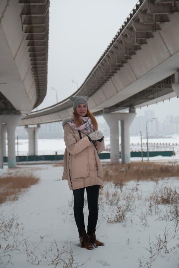 A mulher bonita nova está sob a grande ponte, cidade do inverno imagens de stock royalty free