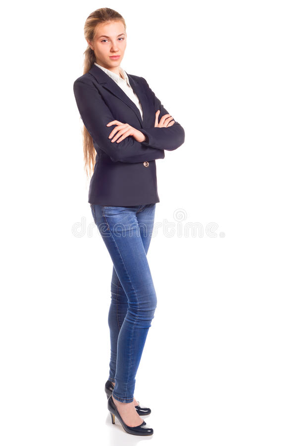 A mulher bonita nova isolou-se Retrato completo da altura imagens de stock
