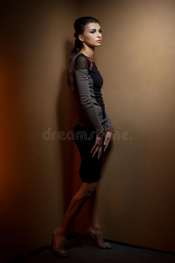 mulher bonita nova no interior fotografia de stock