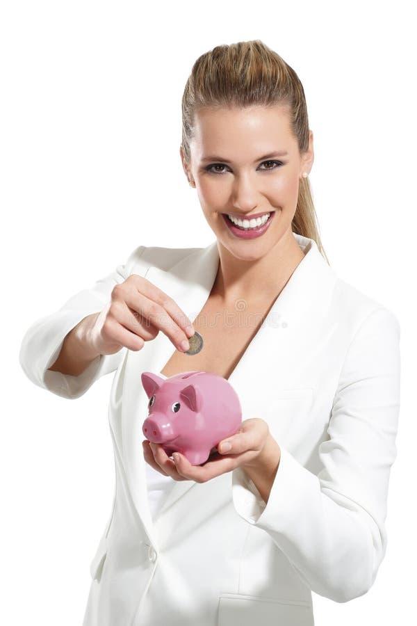 Download Mulher Bonita Nova Que Está Com A Caixa De Dinheiro Do Mealheiro Imagem de Stock - Imagem de moderno, atrativo: 29840855