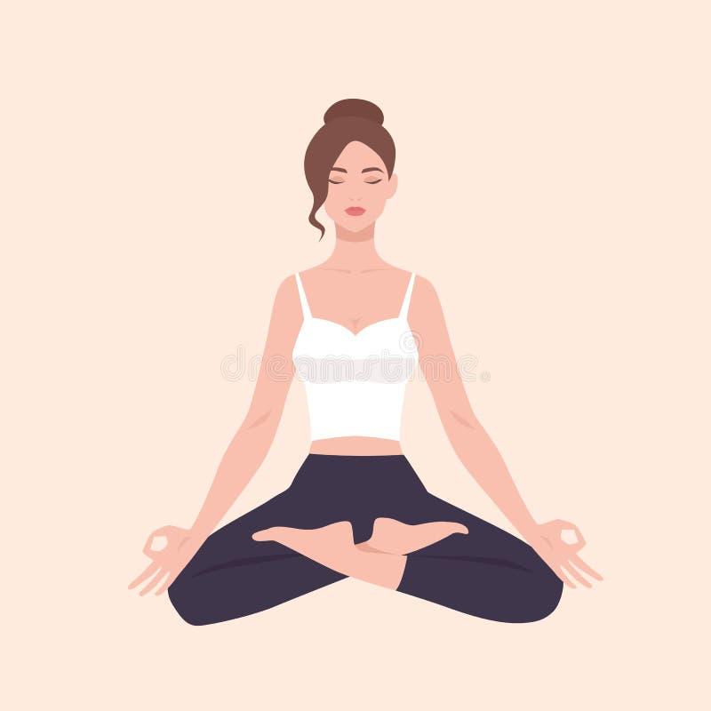 Mulher bonita nova que executa o exercício da ioga Personagem de banda desenhada fêmea que senta-se na postura e em meditar dos l ilustração stock