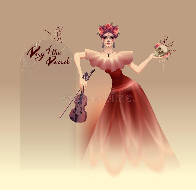 Mulher bonita nova que guarda o crânio e o violino Dia mexicano de Dia de Muertos do feriado dos mortos ilustração royalty free