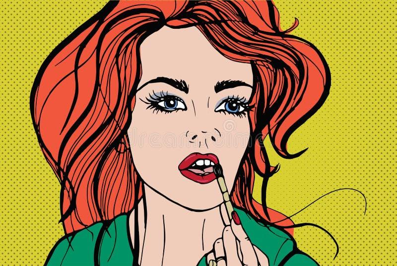 Mulher bonita nova que põe cosméticos ou o batom decorativo sobre seus bordos com escova Retrato da aplicação da menina do ruivo ilustração royalty free