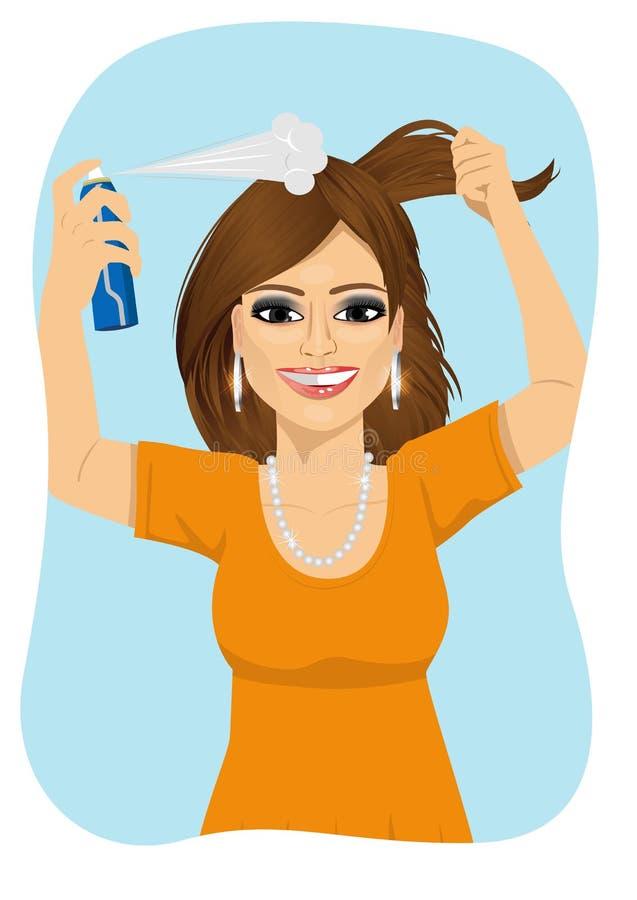 Mulher bonita nova que pulveriza seu cabelo com o champô seco ilustração royalty free