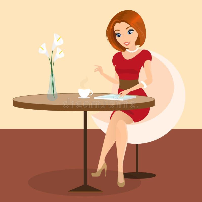 Mulher bonita nova que senta-se apenas no café e que usa um PC da tabuleta ilustração stock