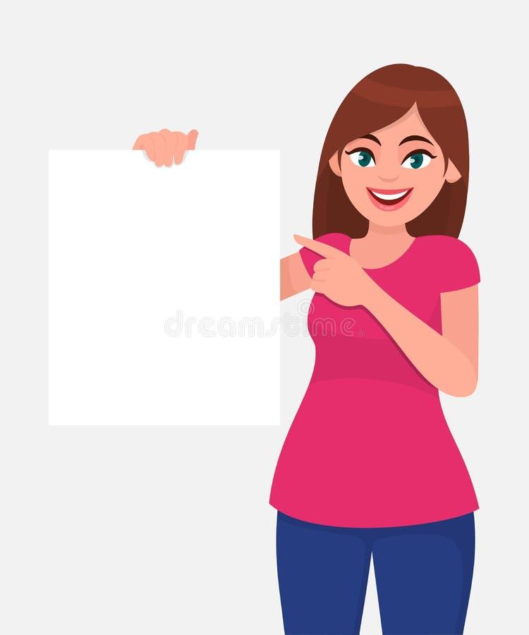 Mulher bonita nova que sorri e que guarda uma placa/folha vazia do Livro Branco ou da placa e que aponta com indicador ilustração do vetor