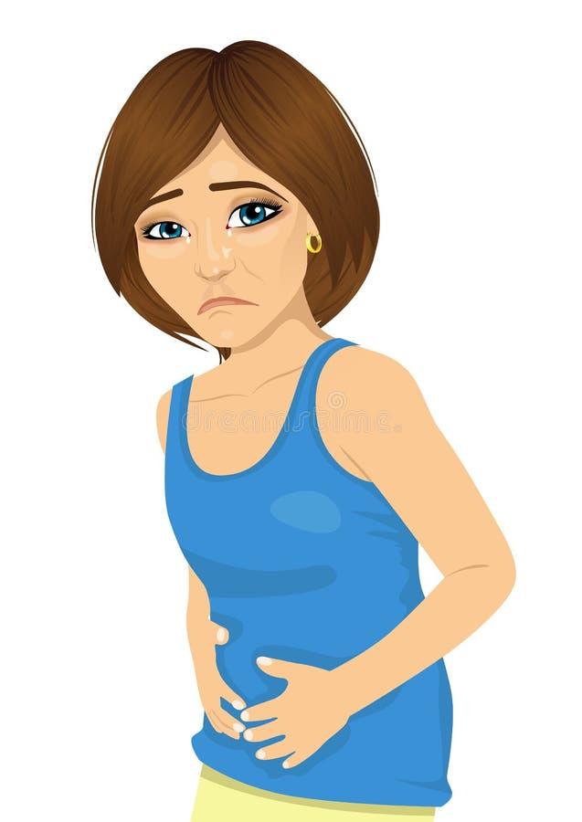 Mulher bonita nova que tem a dor abdominal no branco ilustração stock