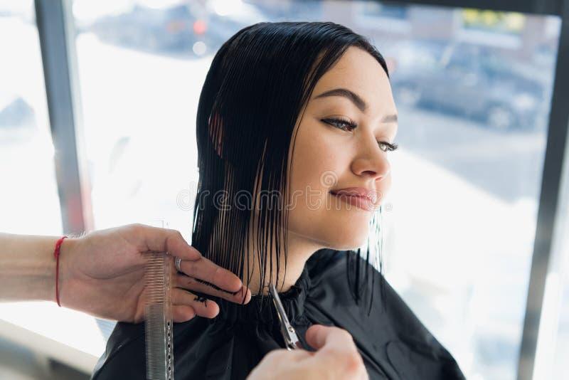 Mulher bonita nova que tem seu cabelo cortado no ` s do cabeleireiro Apreciando o processo de fazer um penteado novo foto de stock