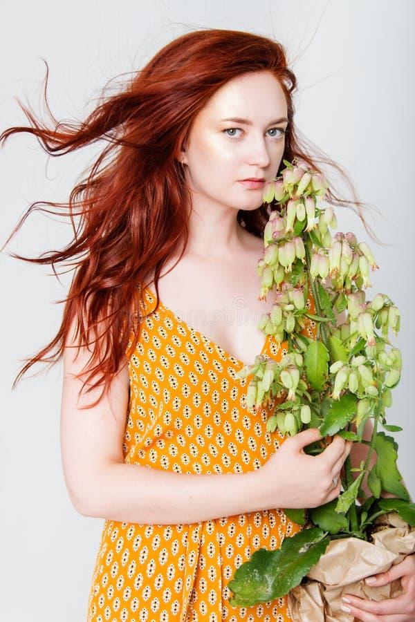 A mulher bonita nova tem o cabelo que vermelho o ouro criativo compõe está levantando em um estúdio com flores fotografia de stock