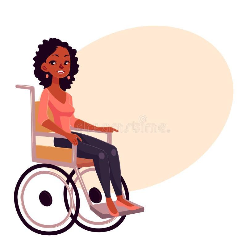Mulher bonita preta nova que senta-se na cadeira de rodas ilustração stock