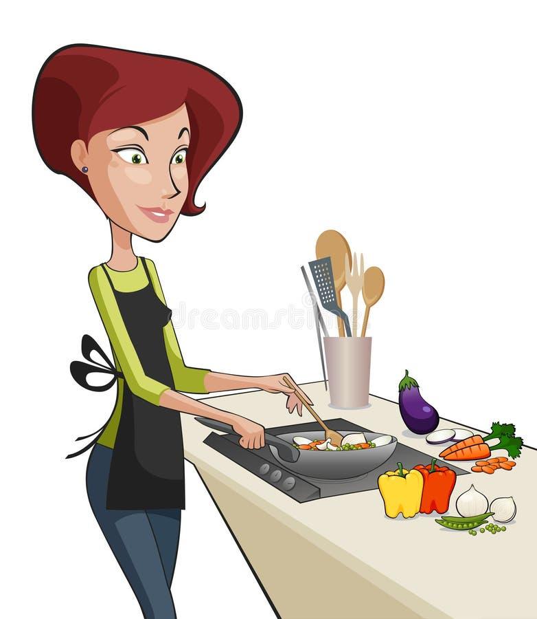Mulher bonita que cozinha uma refeição ilustração do vetor