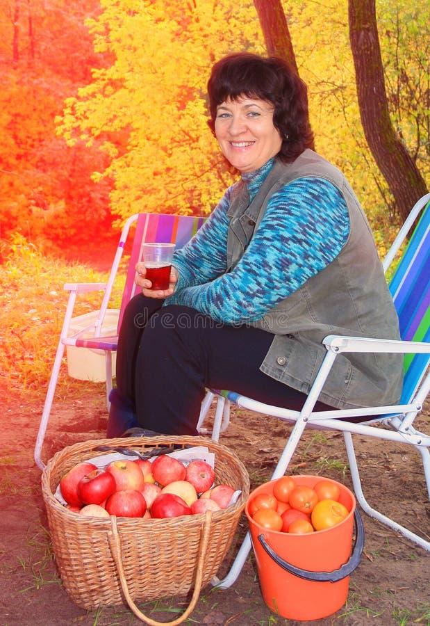 A mulher bonita que descansa no jardim em um vadio do sol não bebe o suco após ter escolhido maçãs foto de stock
