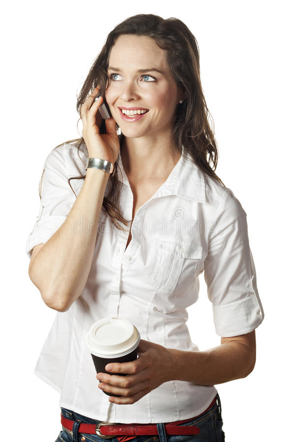 Mulher bonita que fala no telefone móvel imagens de stock royalty free