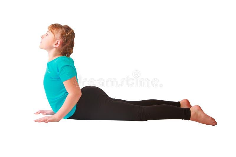 Mulher bonita que faz o fundo do branco do yoguna imagem de stock