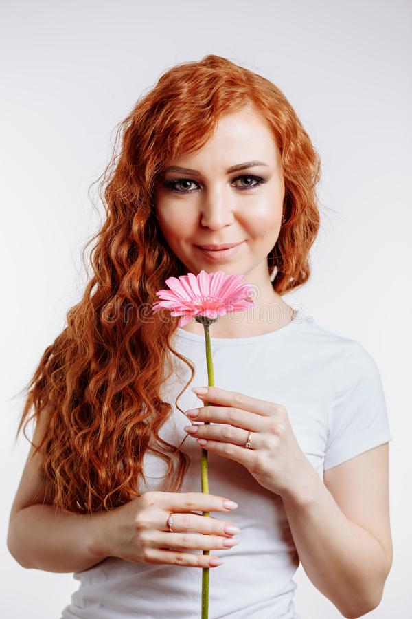 Mulher bonita que guarda o gerbera cor-de-rosa no fundo branco fotografia de stock royalty free