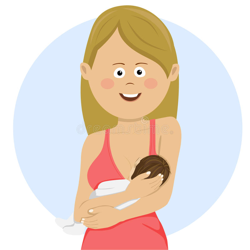 Mulher bonita que guarda um bebê recém-nascido em seu amamentar dos braços ilustração royalty free