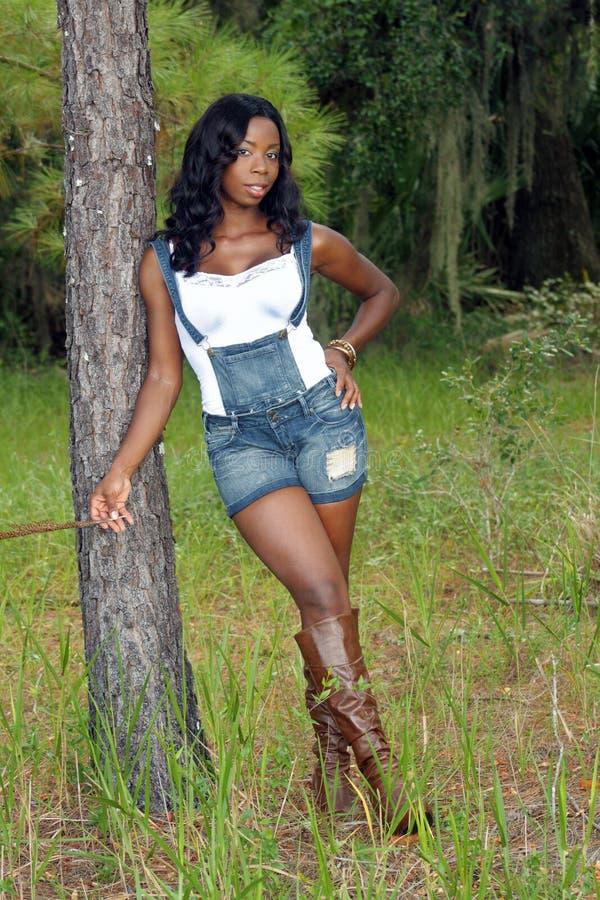 Mulher bonita que inclina-se de encontro a uma árvore de pinho (1) fotos de stock royalty free