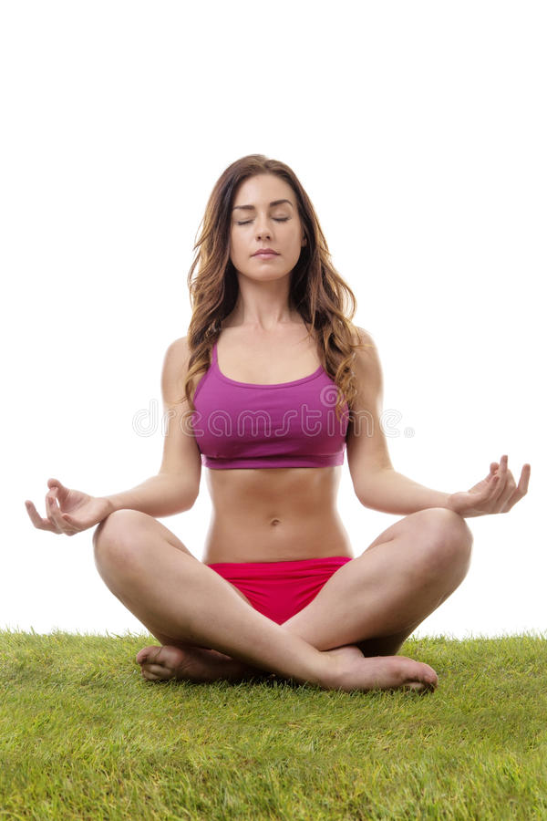 Download Mulher Bonita Que Meditating Imagem de Stock - Imagem de fêmea, assoalho: 65576855
