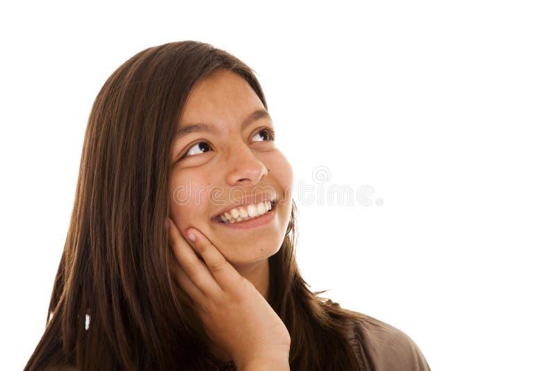 Mulher bonita que olha ao copyspace fotos de stock royalty free