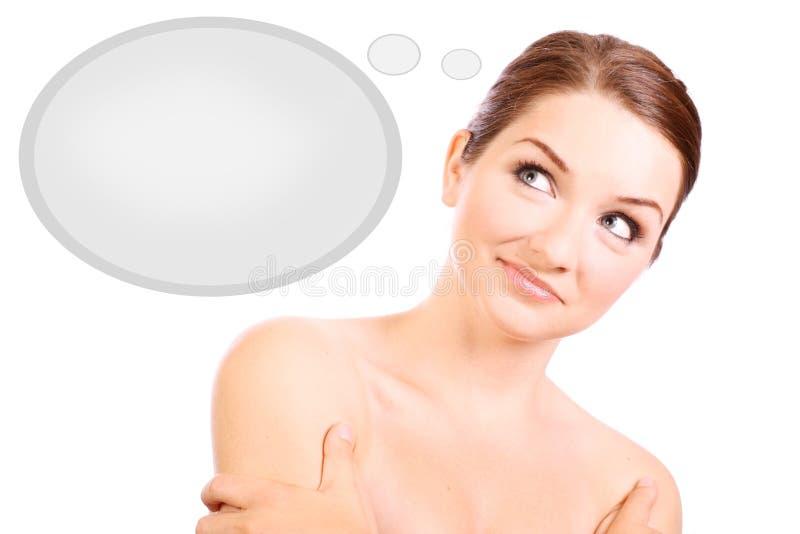 Download Mulher Bonita Que Pensa Com Bolha Do Pensamento Imagem de Stock - Imagem de cosméticos, fêmea: 10061231