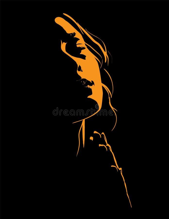 Mulher bonita que praying Retrato Silhueta no luminoso Ilustração ilustração stock