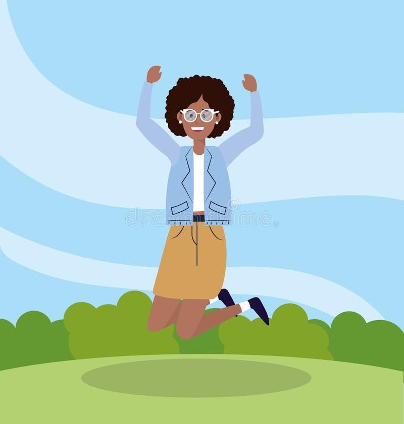 Mulher bonita que salta com ocasional ocasional ilustração do vetor