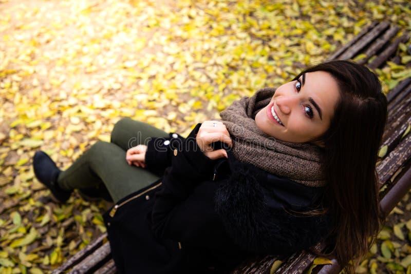 A mulher bonita que senta-se em um banco cercado na queda amarela deixa o tiro superior foto de stock