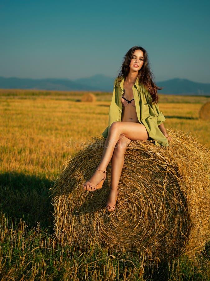 Mulher bonita que senta-se na pilha do feno imagens de stock