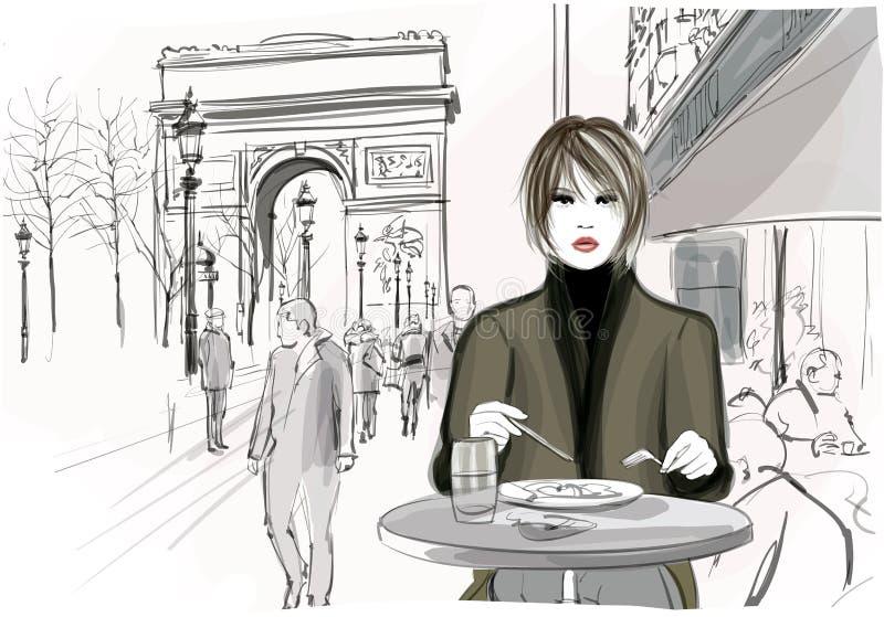 Mulher bonita que tem um almoço no Champs-Elysees em Paris ilustração royalty free