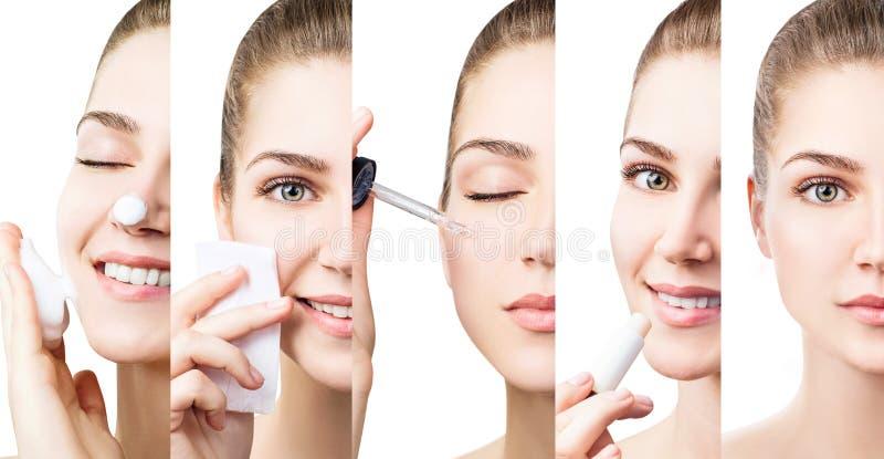 Mulher bonita que usa procedimentos diferentes dos cosméticos para a beleza foto de stock royalty free