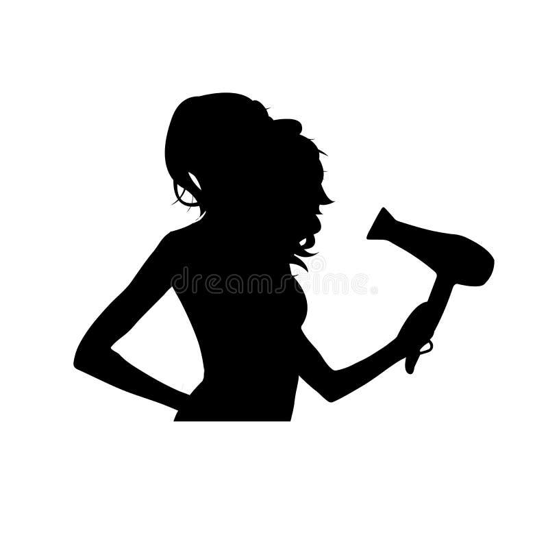 Mulher bonita seca seu cabelo encaracolado Silhueta fêmea preta isolada no fundo branco Conceito de Haircare Vetor ilustração royalty free
