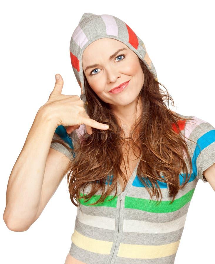Mulher bonita uma factura um atendimento de mim gesto fotos de stock royalty free